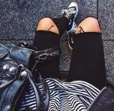 Основно стиль винтаж Колено ветра корпус Великолепный прилив джинсы Женские tootsy кальсоны корейская  версия Очевидно тонкие кальсоны карандаша