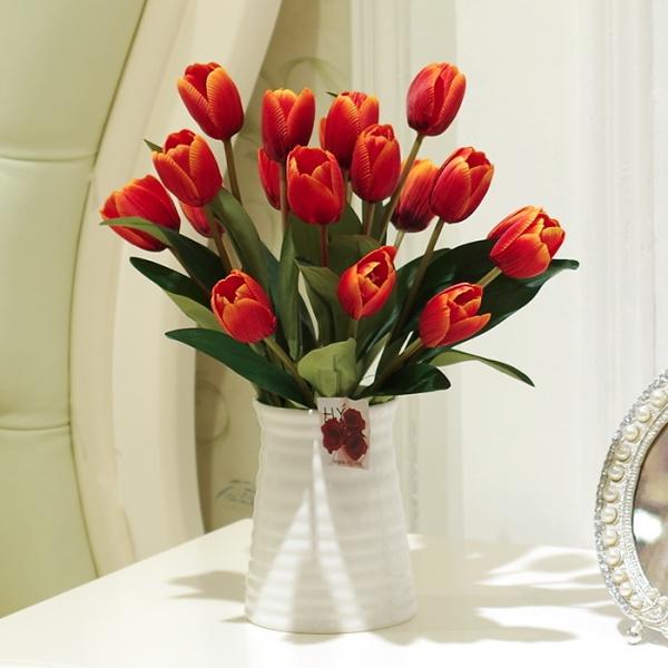 Тюльпаны моделирование цветок керамический цветок бутылка костюм шелк цветок гостиная ложный цветочный горшок завод комнатный качели установить обеденный стол цветок бесплатная доставка
